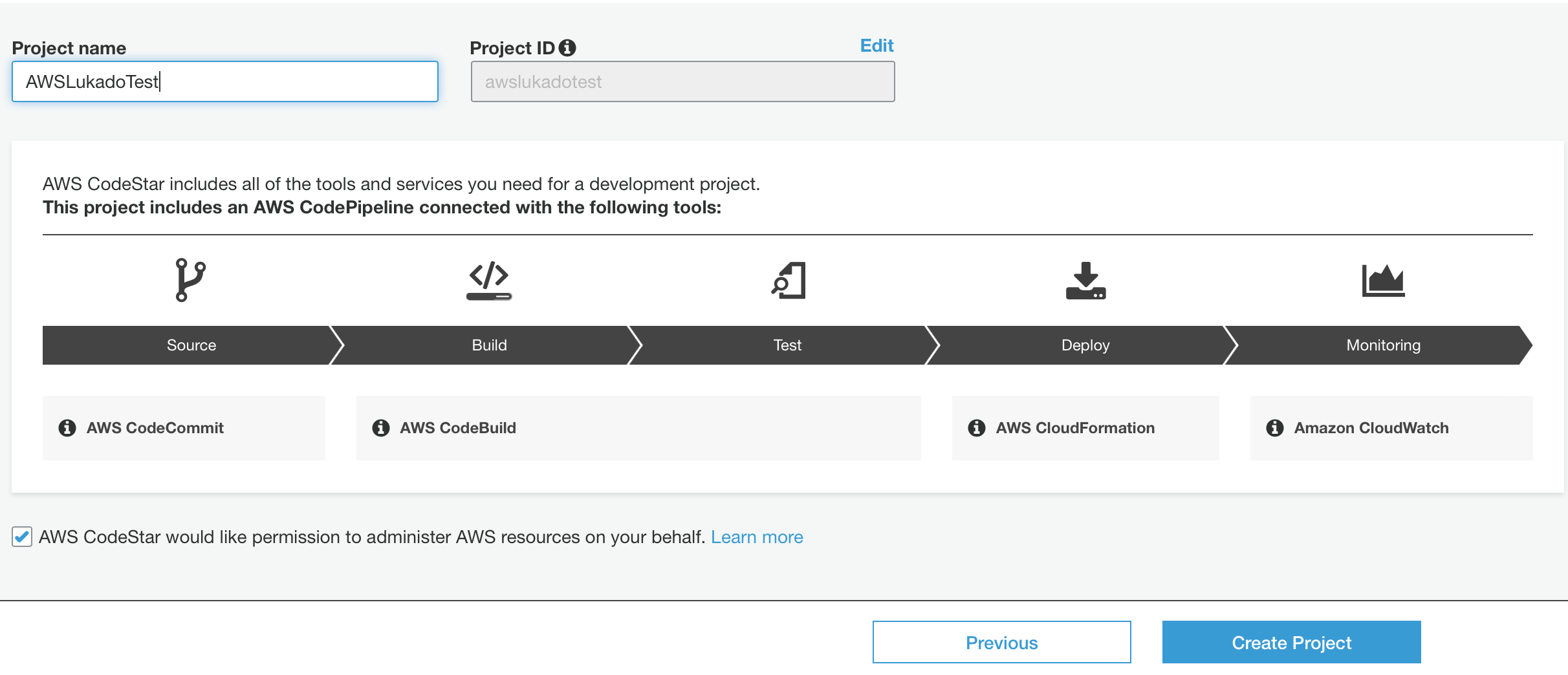AWS CodeStar Create Project